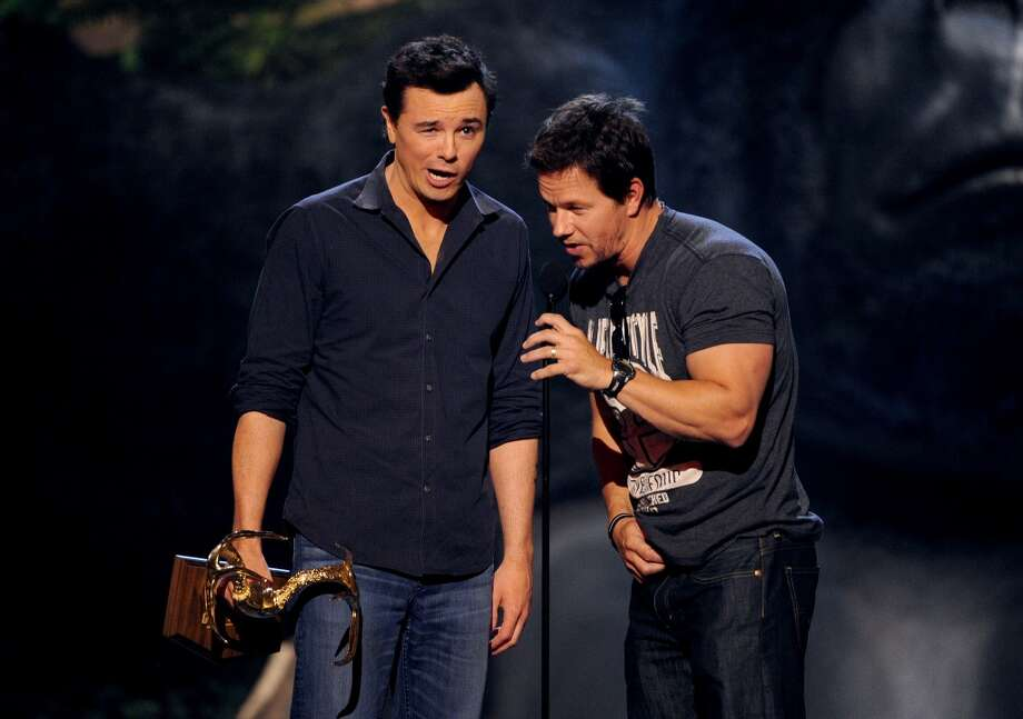 CULVER CITY, CA - JUNE 08: Actors Seth MacFarlane (L) and Mark Wahlberg speak onstage during Spike TV's Guys Choice 2013 at Sony Pictures Studios on June 8, 2013 in Culver City, California.  (Photo by Kevin Winter/Getty Images for Spike TV)