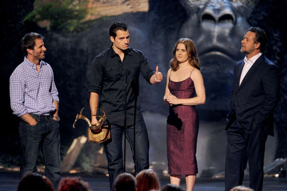 CULVER CITY, CA - JUNE 08:  (L-R) Director Zack Snyder and actors Henry Cavill, Amy Adams, and Russell Crowe speak onstage during Spike TV's Guys Choice 2013 at Sony Pictures Studios on June 8, 2013 in Culver City, California.  (Photo by Kevin Winter/Getty Images for Spike TV)
