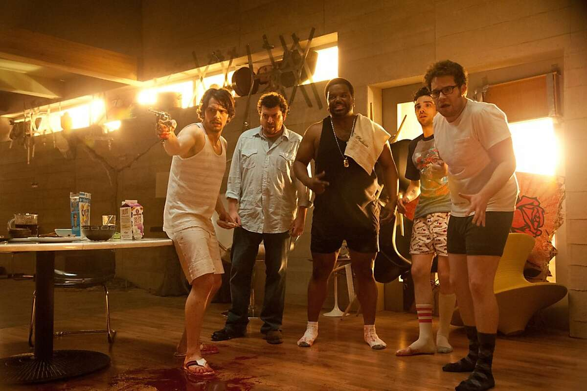 """L-r, James Franco, Danny McBride, Craig Robinson, Jay Baruchel and Seth Rogen in Columbia Pictures' """"This Is The End,"""" also starring Jonah Hill."""