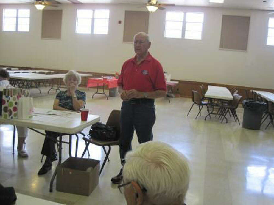 Joe Glawson, a World War II veteran, was a guest speaker at the NARFE Chapter 1594 meeting May 15 at Holy Name Activity Center. Photo: Courtesy Photo
