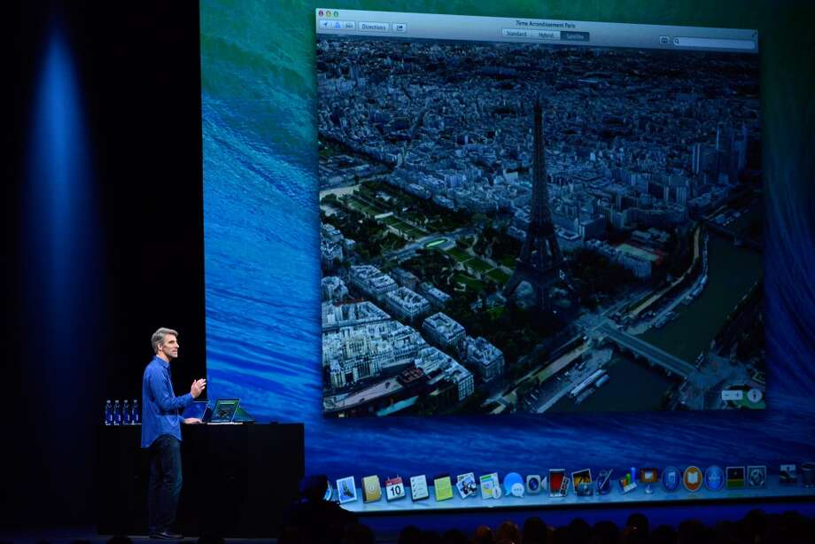 Craig Federighi, vice president of Software Engineering at Apple Inc., speaks during the keynote of the World Wide Developers Conference (WWDC) in San Francisco, California, U.S., on Monday, June 10, 2013. Apple Inc. introduced a new version of its Mac operating system called Mavericks, aimed at delivering tighter integration with iPhones and iPads.
