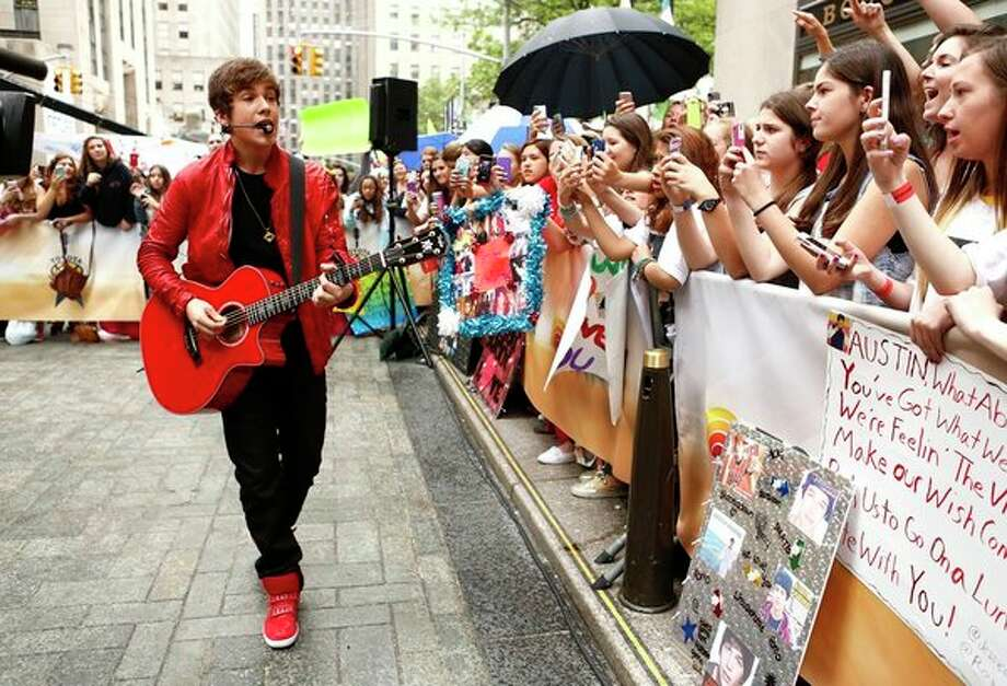 "Young fans cheer Austin Mahone outside the ""Today"" studio on Monday. Photo: NBC NewsWire, Peter Kramer/NBC / 2013 NBCUniversal Media, LLC."