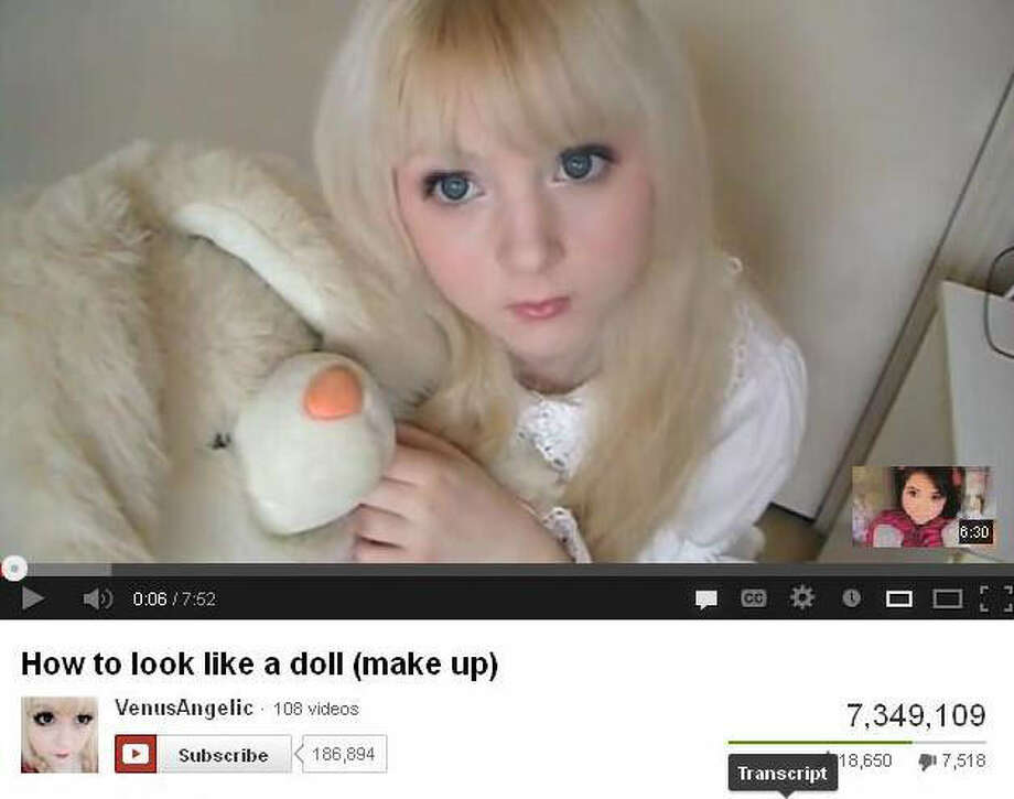 Venus Palermo, 15, instructs other young women on YouTube how to apply makeup to look like a doll. Photo: YouTube