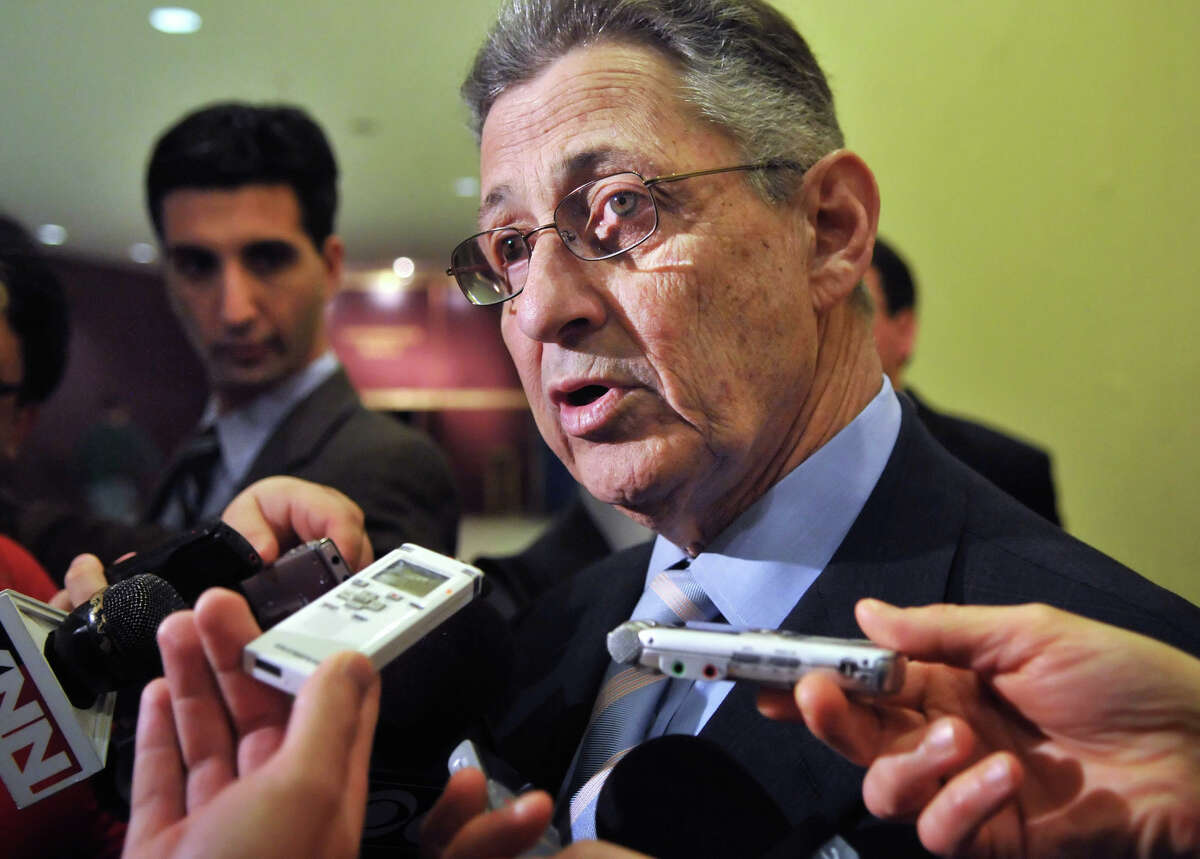 NYS Assembly Leader Sheldon Silver speaks to reporters after addressing the American Federation of State, County and Municipal Employees at the Empire State Plaza Convention Center at the Capitol Tuesday Mar. 1, 2011. (John Carl D'Annibale / Times Union)