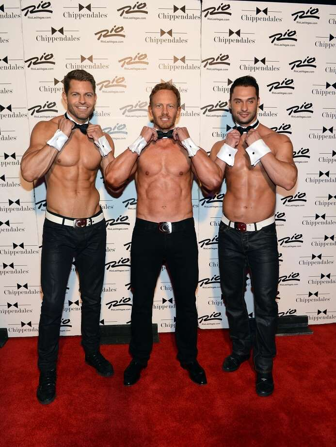 LAS VEGAS, NV - JUNE 08:  Chippendales cast members Jaymes Vaughan, Ian Ziering and James Davis pose for photos at the Rio All-Suite Hotel and Casino on June 8, 2013 in Las Vegas, Nevada.  (Photo by Denise Truscello/WireImage)