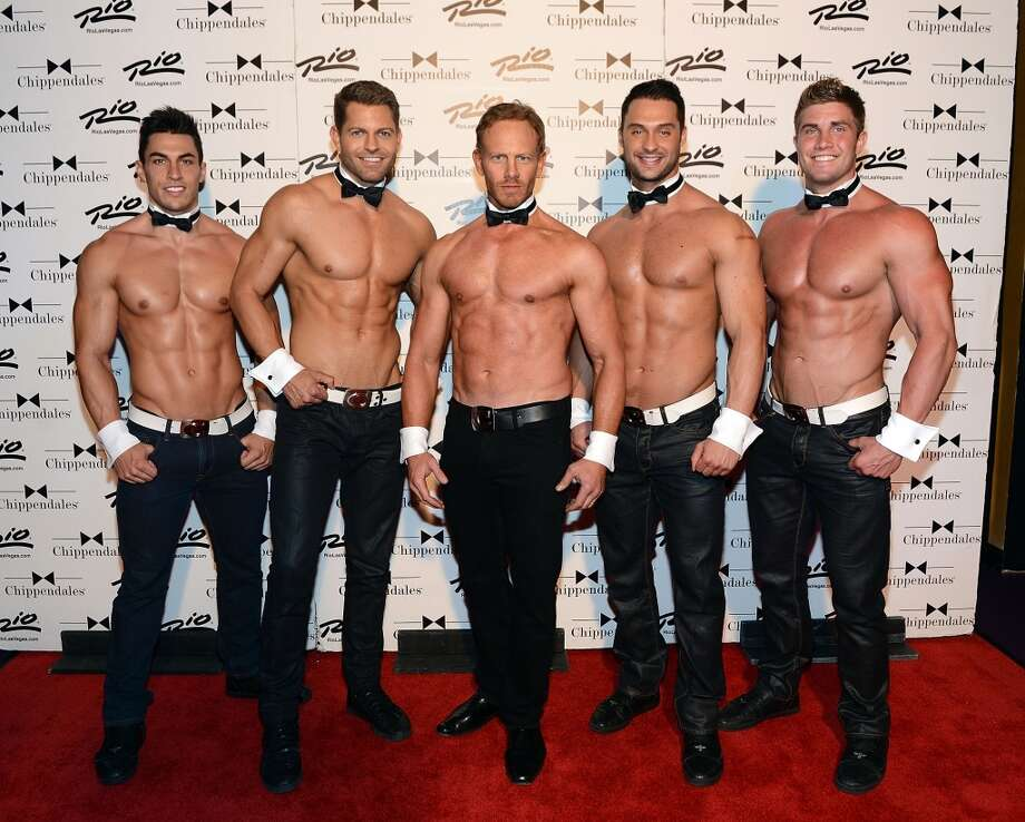 LAS VEGAS, NV - JUNE 08:  Chippendales cast members Jon Howes, Jaymes Vaughan, Ian Ziering, James Davis and Gavin McHale pose for photos at the Rio All-Suite Hotel and Casino on June 8, 2013 in Las Vegas, Nevada.  (Photo by Denise Truscello/WireImage)