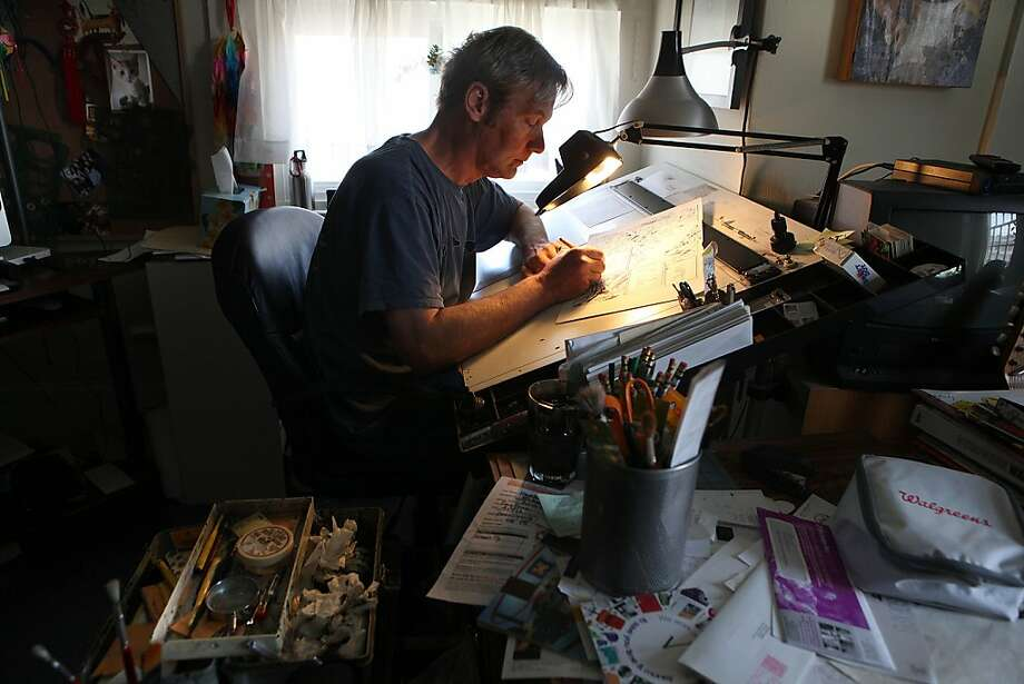 Comic book artist John Heebink's late-stage melanoma has responded well to a new treatment, and he's now feeling well enough to work on a new book. Photo: Liz Hafalia, The Chronicle