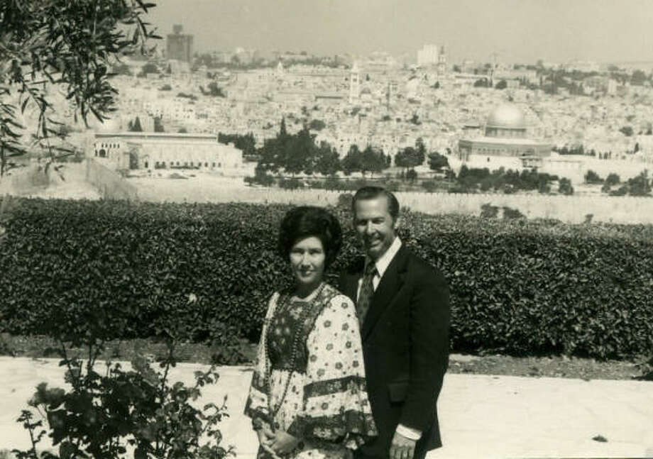 Pastor John and Dodie Osteen in front of the Temple Mount in Jerusalem. Photo: Provided By Lakewood Church