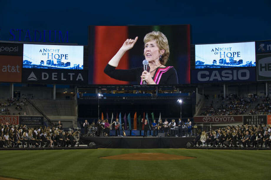 Nearly five decades after her husband founded Lakewood Church, Dodie Osteen encourages a huge crowd at Yankee Stadium for 'A Night of Hope' worship service. Photo: Ron Wyatt, Provided By Lakewood Church