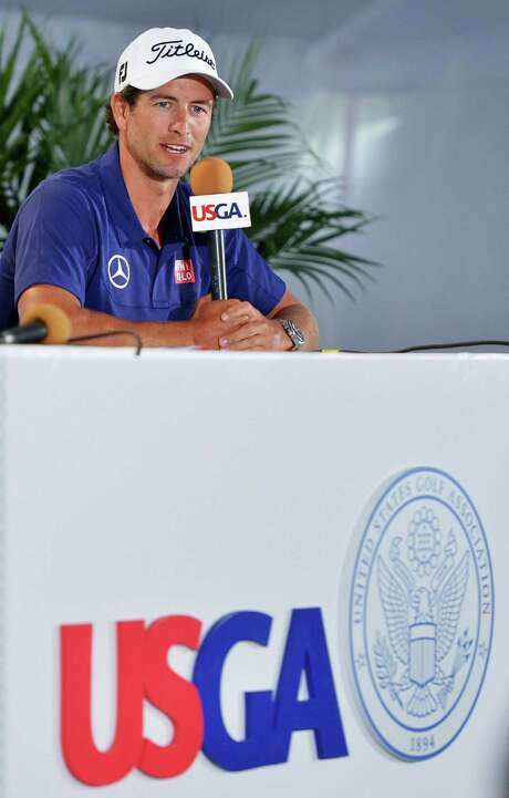 ARDMORE, PA - JUNE 10:  Adam Scott of Australia talks with the media during a press conference prior to the start of the 113th U.S. Open at at Merion Golf Club on June 10, 2013 in Ardmore, Pennsylvania.  (Photo by Drew Hallowell/Getty Images) Photo: Drew Hallowell, Stringer / 2013 Getty Images