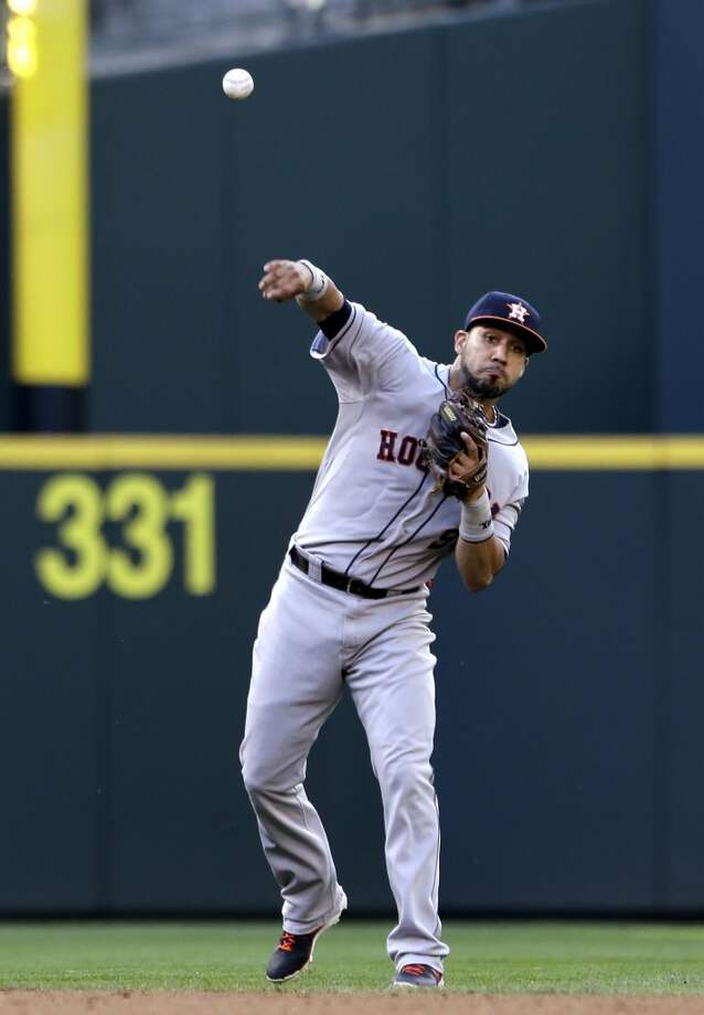 Marwin Gonzalez of the Astros in action against the Mariners. Photo: Elaine Thompson, Associated Press