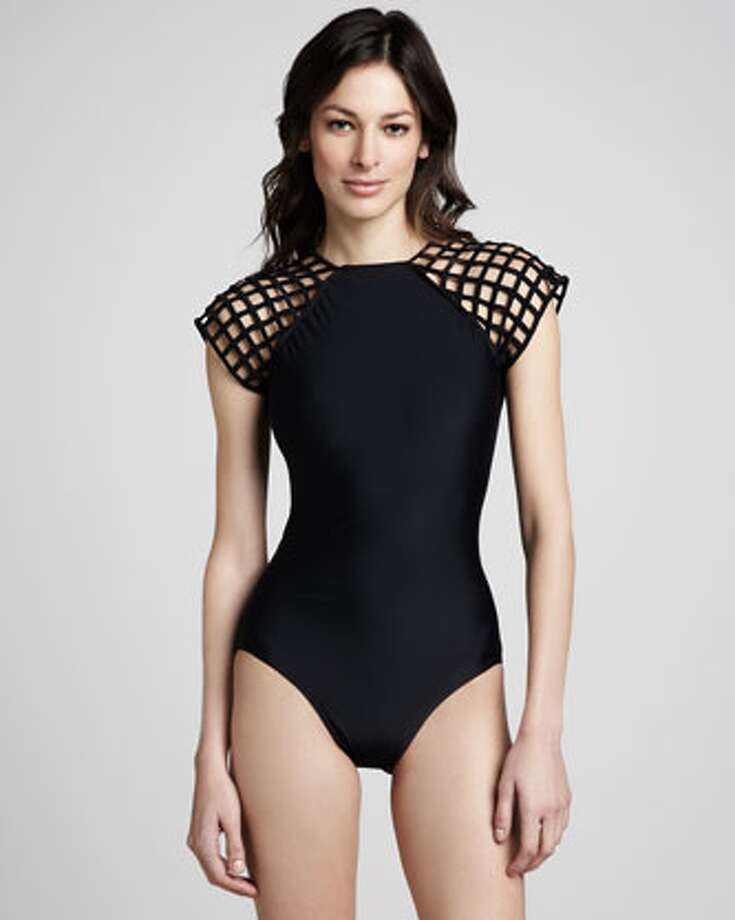 CUTOUT: Chic shoulders! Lenny Lattice-Sleeve One-Piece Swimsuit, Neiman Marcus ($220) Photo: Neiman Marcus