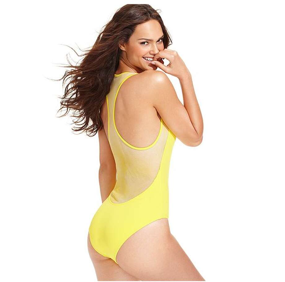 CUTOUT: Practice your backflip in the pool without sacrificing modesty. DKNY Racerback Mesh One-Piece, Macy's ($96) Photo: Macy's