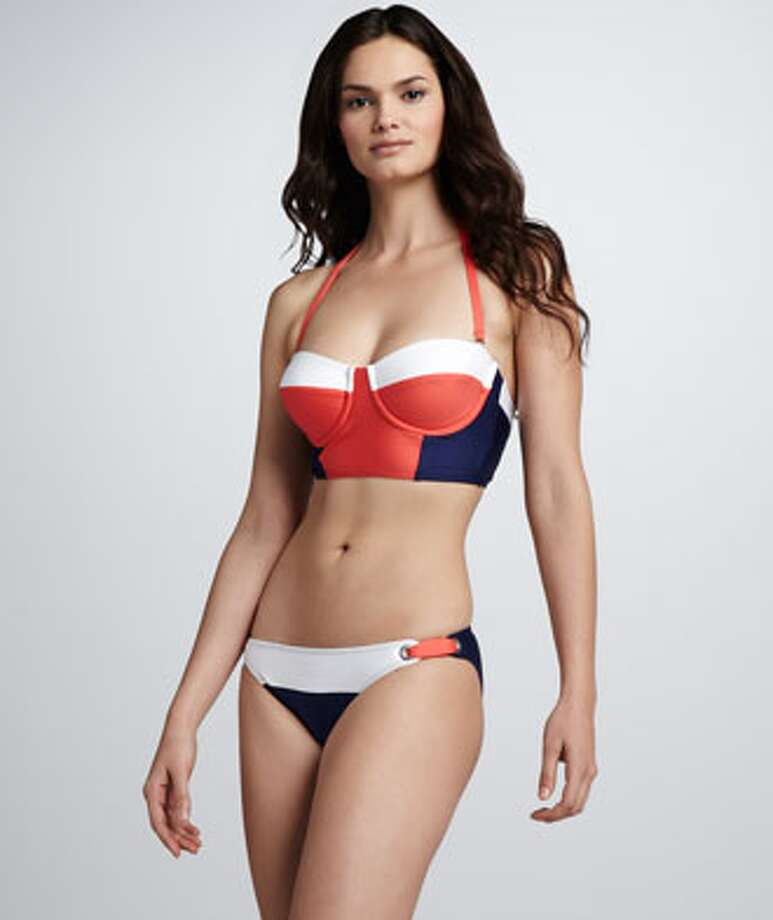 SPORTY: Boost your bust with color-blocking support. Splendid Sunblock Bustier Bikini Two-Piece, Neiman Marcus ($71) Photo: Neiman Marcus