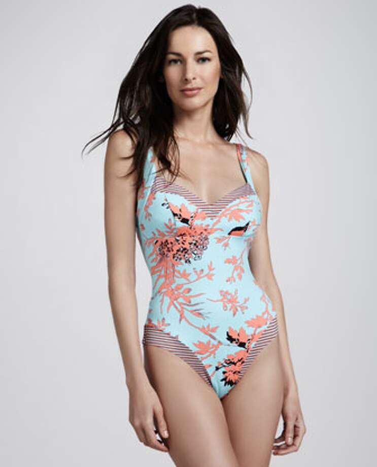 RETRO: The look of leg-lengthening high-cut sides without the self-conscious feel. Nanette Lepore Toile Strappy-Back One-Piece Swimsuit, Neiman Marcus ($144) Photo: Neiman Marcus