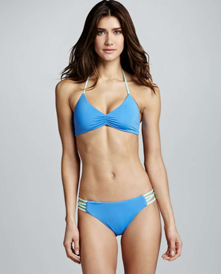 CUTOUT: Sides that don't cut into hips. L Space Swimwear by Monica Wise Strappy-Back Halter Bikini Top & Strappy-Side