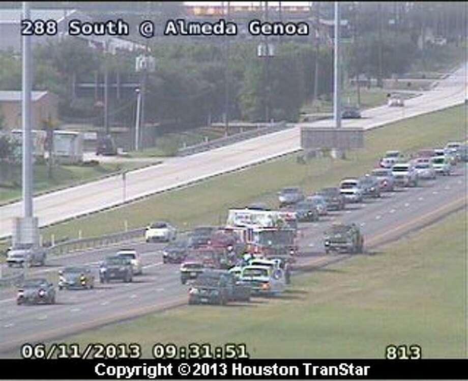 A crash slowed traffic on the northbound South Freeway near Almeda-Genoa Tuesday morning. Photo: Houston Transtar