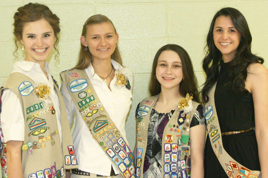 Five Girl Scouts from the North Central San Antonio area are receiving the Gold Award. From left are Lauren Broderick, Kaitlyn DeHaven, Sabrina Crespin and Victoria Crynes. Kori Morris is not pictured. Photo: Courtesy Photo
