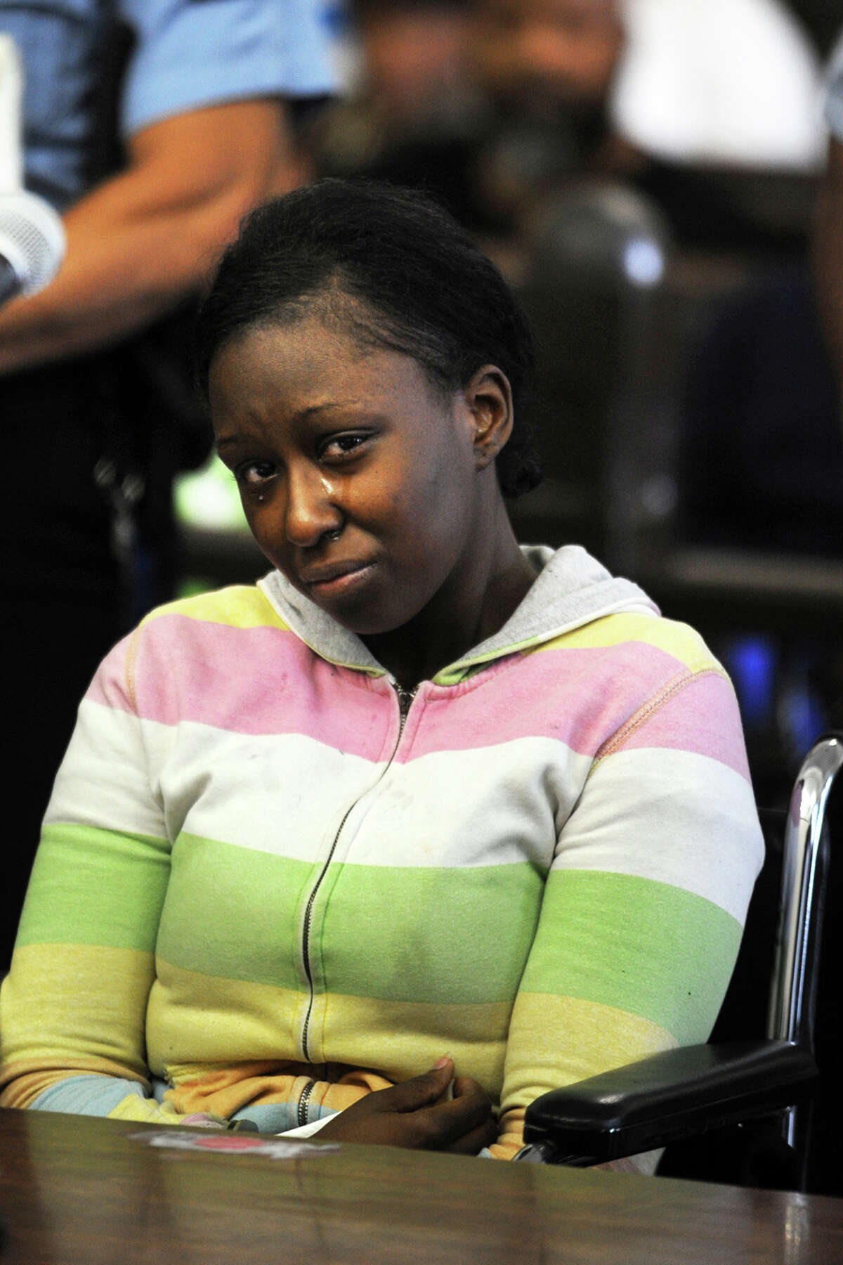 Cherelle Baldwin is arraigned in Superior Court, in Bridgeport, Conn., June 11th, 2013. Baldwin has been charged with the murder of Jeffrey Brown, who, police say, died on May 18th after he was crushed against a garageâÄôs cinder-block wall by a car that Baldwin was driving.