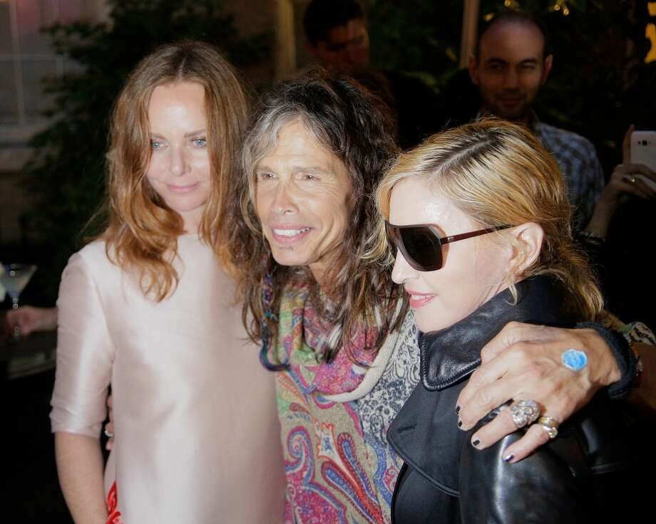 NEW YORK, NY - JUNE 10:  Stella McCartney, Steven Tyler and Madonna at West 10th Street on June 10, 2013 in New York City.  (Photo by Randy Brooke/Getty Images)