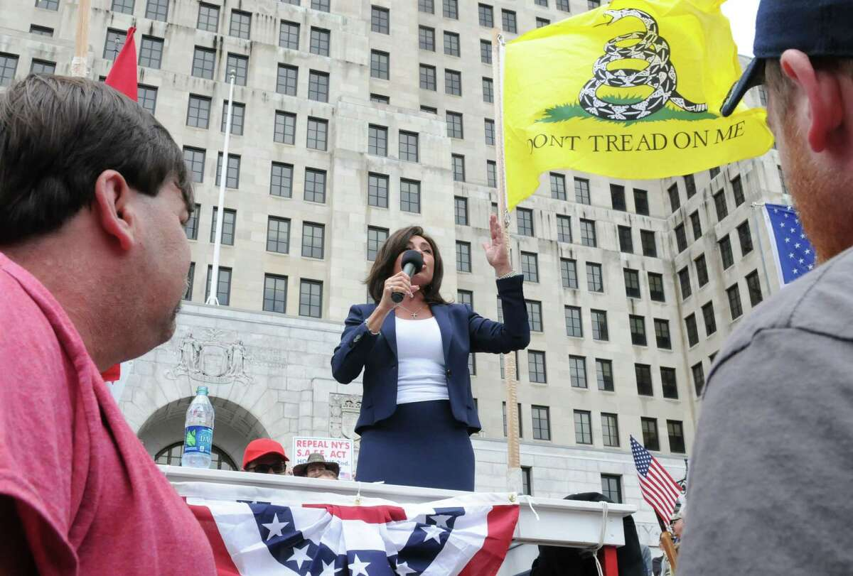 Former Westchester County District Attorney and judge Jeanine Pirro speaks during an anti-SAFE Act rally at the West Capitol Park on Tuesday, June 11, 2013 in Albany, N.Y. (Lori Van Buren / Times Union)