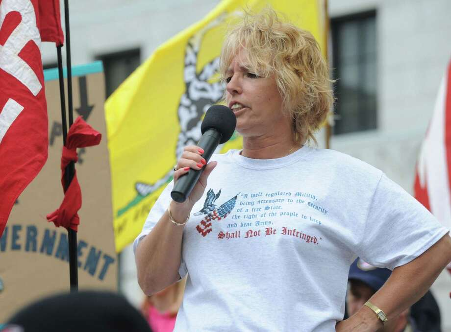 Radio host Melody Burns speaks during an anti-SAFE Act rally at the West Capitol Park on Tuesday, June 11, 2013 in Albany, N.Y.  (Lori Van Buren / Times Union) Photo: Lori Van Buren / 00022762A