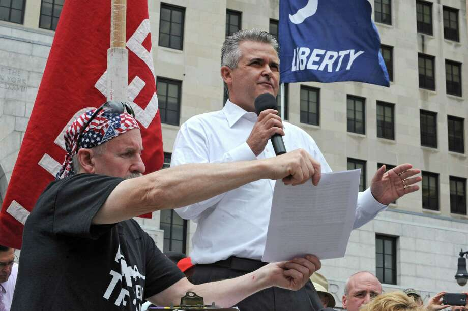Asemblyman Steven McLaughlin speaks during an anti-SAFE Act rally at the West Capitol Park on Tuesday, June 11, 2013 in Albany, N.Y.  (Lori Van Buren / Times Union) Photo: Lori Van Buren / 00022762A