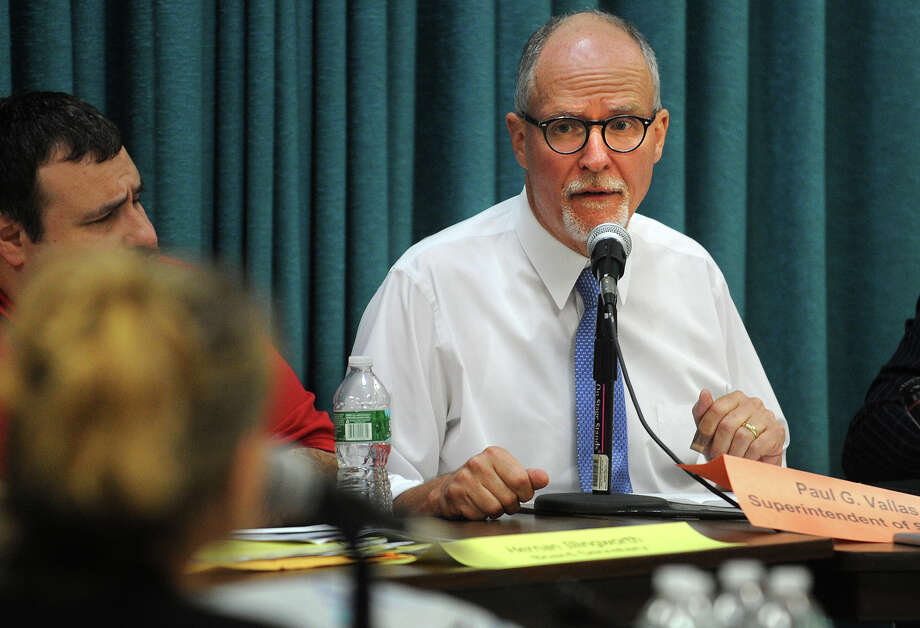 Supt. of Schools Paul Vallas discusses the budget during the Board of Education meeting at the Aquaculture School in Bridgeport, Conn. on Monday, June 10, 2013. Photo: Brian A. Pounds / Connecticut Post