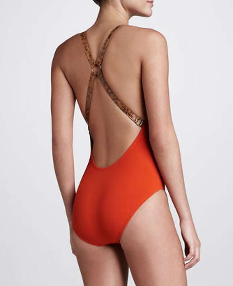 SPORTY: Just a touch of safari. Michael Kors Buckled Cross-Back Maillot, Sienna, Neiman Marcus ($225)