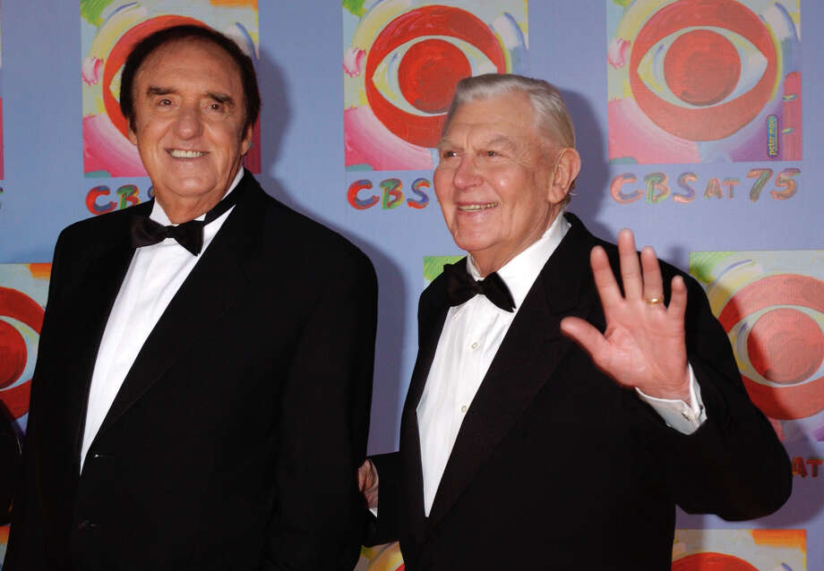Actors Jim Nabors, left, and Andy Griffith arrive to CBS's 75th anniversary celebration Sunday, Nov. 2, 2003, in New York.  (AP Photo/Louis Lanzano) Photo: LOUIS LANZANO, STR / AP