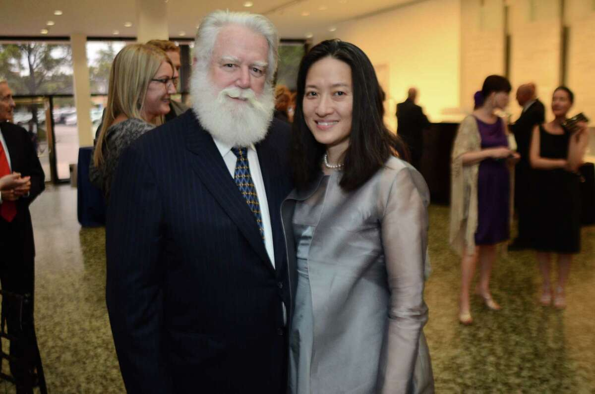 James Turrell with wife, Kyung Turrell at the patrons dinner for his exhibitl at The Museum of Fine Arts Houston - Caroline Weiss Law Building in Houston, TX, June 6, 2013