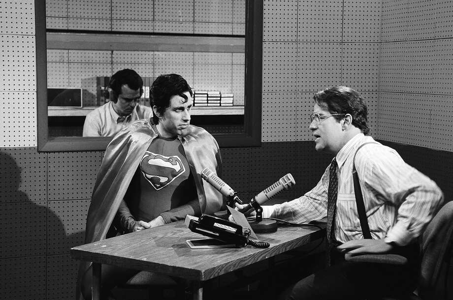 Jerry Seinfeld as Superman, Phil Hartman as Lenny Wise on Saturday Night Live in 1992. Photo: NBC, File / 2012 NBCUniversal, Inc.
