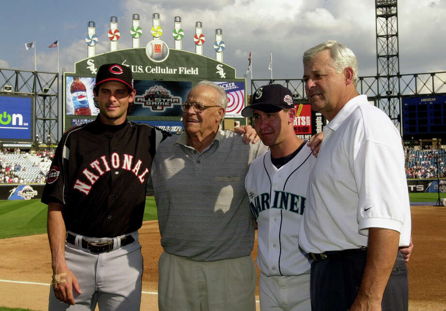 Ray, Bob, Aaron and Bret Boone — They're quite the baseball family.  First there was grandfather, Ray, (second left), then father, Bob, right, and finally his sons Aaron and Bret. Photo: MARK DUNCAN, AP / AP