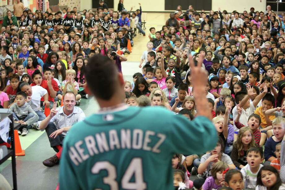 Mariners player Felix Hernandez speaks to students at Cedarhurst Elementary School in Burien during the Mariners' annual D.R.E.A.M. Team assembly. Players visited elementary schools in the Seattle area on Tuesday to talk about the D.R.E.A.M. principles: Drug free, respect for yourself and others, Education through reading, Attitude and Motivation to achieve your dreams. Photo: JOSHUA TRUJILLO, SEATTLEPI.COM / SEATTLEPI.COM