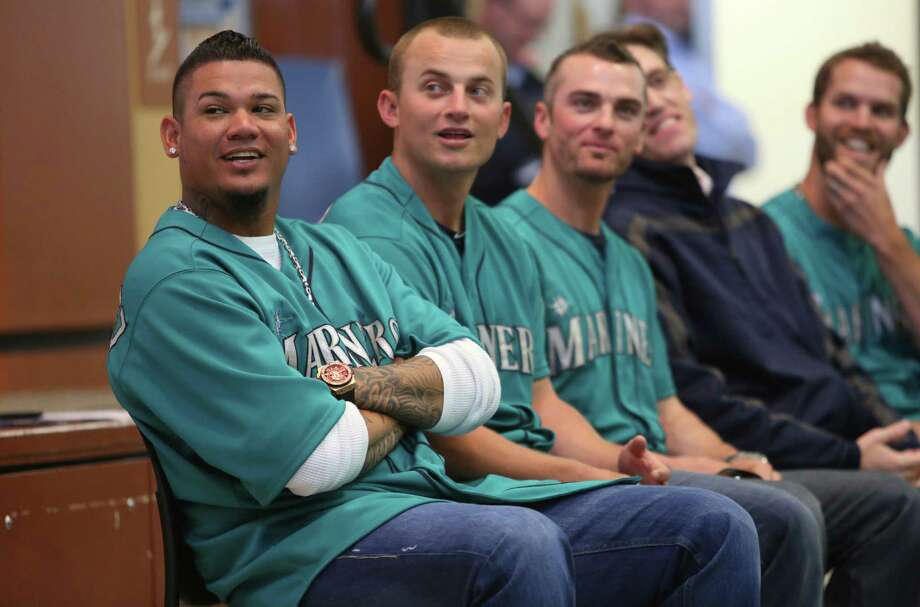 Mariners player Felix Hernandez sits with teammates at Cedarhurst Elementary School in Burien during the Mariners' annual D.R.E.A.M. Team assembly. Players visited elementary schools in the Seattle area on Tuesday to talk about the D.R.E.A.M. principles: Drug free, respect for yourself and others, Education through reading, Attitude and Motivation to achieve your dreams. Photo: JOSHUA TRUJILLO, SEATTLEPI.COM / SEATTLEPI.COM