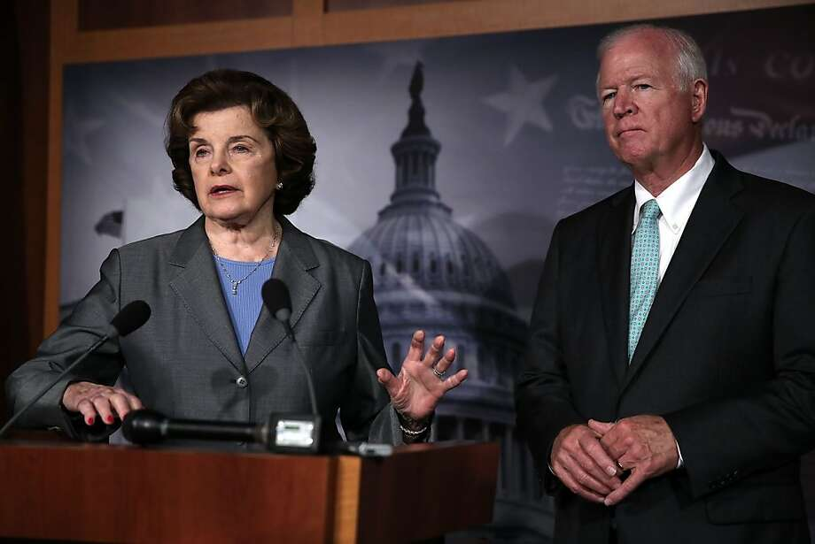 WASHINGTON, DC - JUNE 06:  Chairman and Vice Chairman of the U.S. Senate Select Committee on Intelligence, Sen. Dianne Feinstein (D-CA) (L) and U.S. Sen. Saxby Chambliss (R-GA) (R), speak to members of the media about the National Security Agency (NSA) collevting phone records June 6, 2013 on Capitol Hill in Washington, DC. According to reports, the NSA has collected phone data, under a provision of the Patriot Act, of Verizon customers in teh U.S.  (Photo by Alex Wong/Getty Images) Photo: Alex Wong, Getty Images