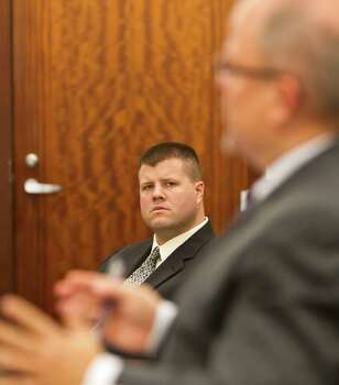 Drew Ryser listens to prosecuting attorney Tommy LaFon's objection to his legal team's closing arguments on Tuesday. Photo: Nick De La Torre, Staff / © 2013  Houston Chronicle