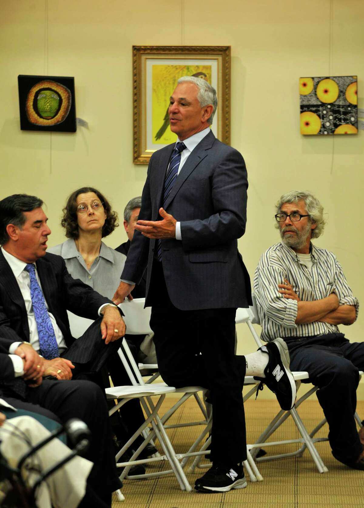 Former Major League Baseball Commissioner Fay Vincent lets Bobby Valentine answer a question from an audience member during Vincent's speech on Civility in Sports at the Ferguson Library in Stamford on Tuesday, June 11, 2013.