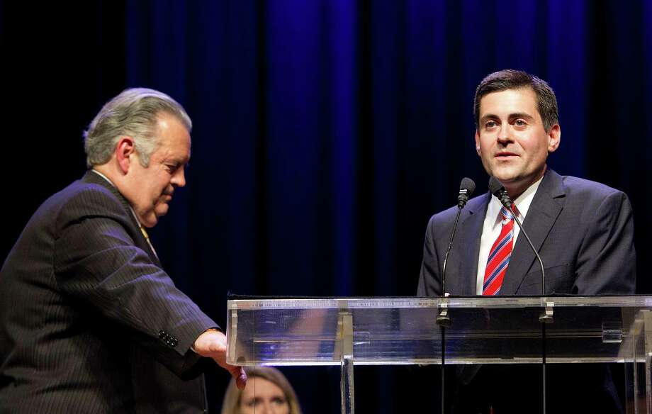 Richard Land, Houston native and former president of the Southern Baptist Convention's Ethics and Religious Liberty Commission (ERLC), left, stands with the new president of the ERLC Russell Moore as they answer questions during the 2013 Southern Baptist Convention Annual Meeting at the George R. Brown Convention Center Tuesday, June 11, 2013, in Houston. Photo: Johnny Hanson, Houston Chronicle / © 2013  Houston Chronicle