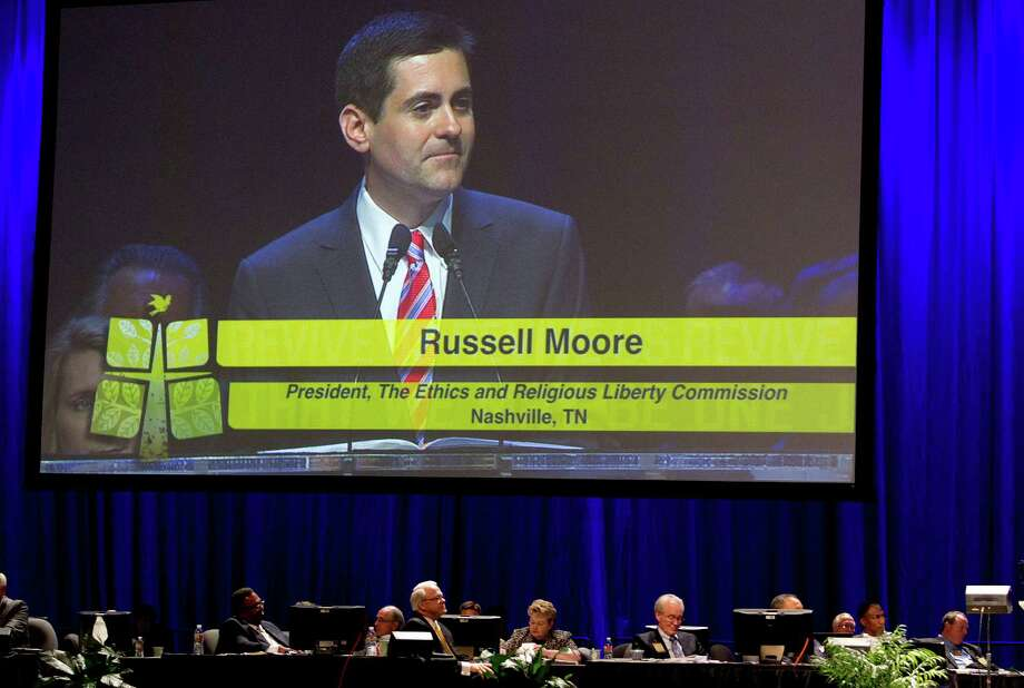 Russell Moore, the newly appointed president of the Southern Baptist Convention's Ethics and Religious Liberty Commission, speaks during the 2013 Southern Baptist Convention Annual Meeting at the George R. Brown Convention Center Tuesday, June 11, 2013, in Houston. Photo: Johnny Hanson, Houston Chronicle / © 2013  Houston Chronicle