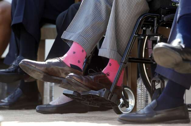 Bush showed off these socks at the dedication of his son's presidential library in Dallas in April 2013.