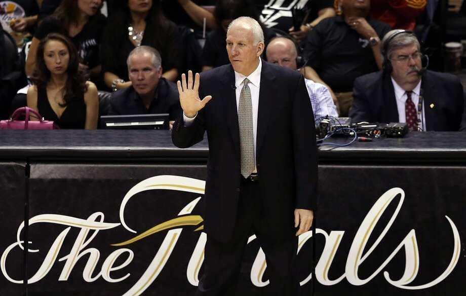Spurs coach Gregg Popovich calls out in the first quarter while taking on the Heat during Game Three of the 2013 NBA Finals at the AT&T Center.