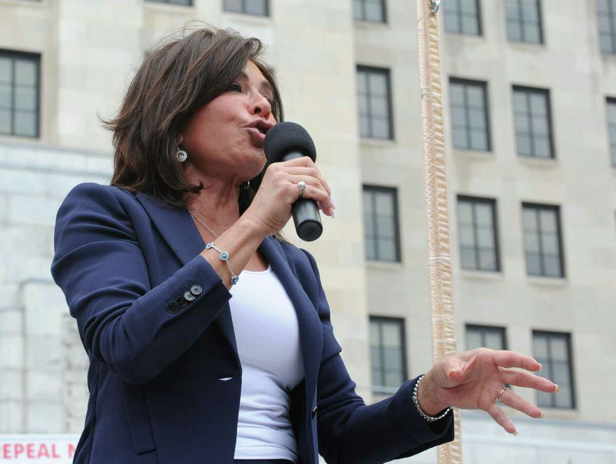 Former prosecutor and judge Jeanine Pirro speaks during an Anti-SAFE Act rally at the West Capitol Park on Tuesday, June 11, 2013 in Albany, N.Y. (Lori Van Buren / Times Union)