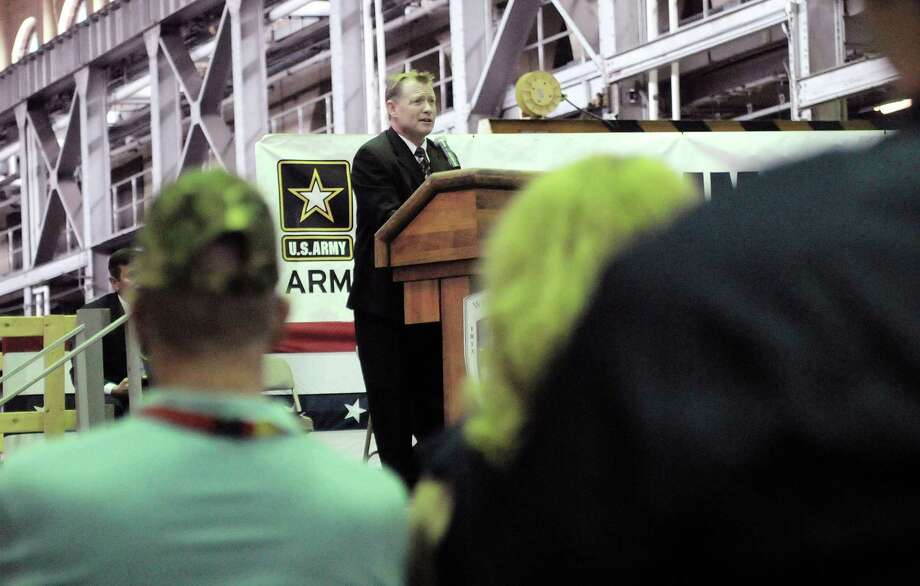 Watervliet Mayor Michael Manning addresses those gathered for the Arsenal Community Covenant Signing Ceremony at the Watervliet Arsenal on Tuesday, June 11, 2013 in Watervliet, NY.  The event is designed to foster and sustain the community's