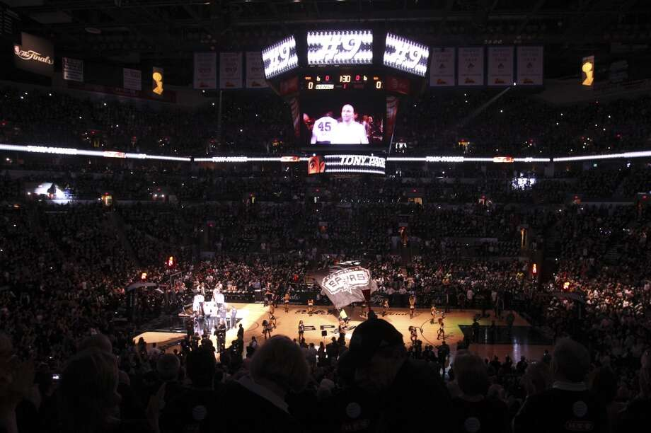 The pre game show is seen before Game 3 of the NBA Finals at the AT&T Center on Tuesday, June 11, 2013.