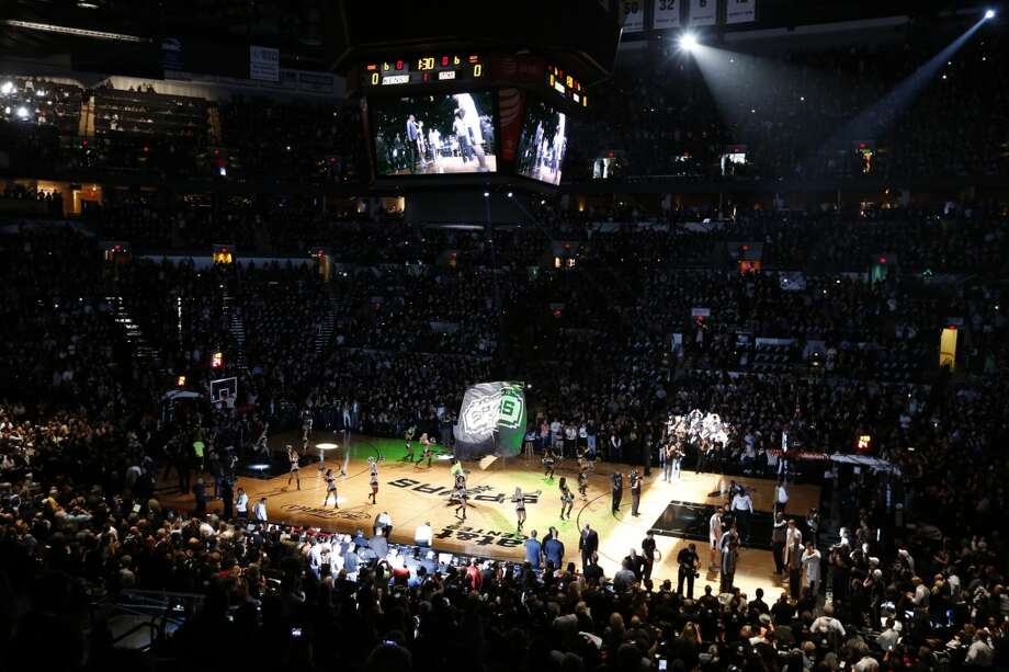 The Spurs are introduced before Game 3 of the 2013 NBA Finals against the Miami Heat Tuesday June 11, 2013 at the AT&T Center.