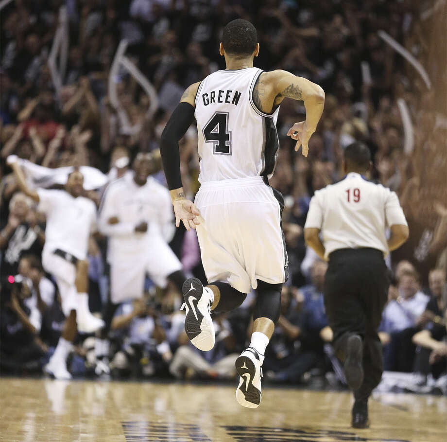 Spurs guard Danny Green celebrates one of his seven 3-pointers against the Miami Heat in Game 3 of the NBA Finals.