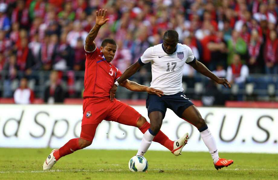 U.S. player Jozy Altidore (17) and Panama's Roman Torres battle for control during a World Cup qualifying match against Panama on Tuesday, June 11, 2013 at CenturyLink Field in Seattle. The U.S. defeated Panama 2-0. Photo: JOSHUA TRUJILLO, SEATTLEPI.COM / SEATTLEPI.COM