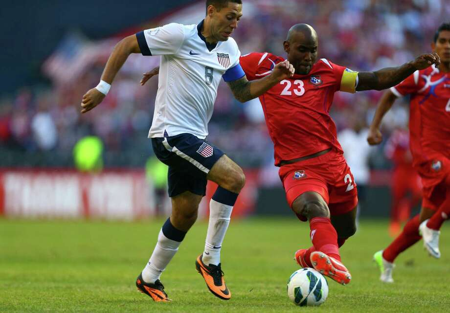 U.S. player Clint Dempsey (8) and Panama's Felipe Baloy battle for control during a World Cup qualifying match against Panama on Tuesday, June 11, 2013 at CenturyLink Field in Seattle. The U.S. defeated Panama 2-0. Photo: JOSHUA TRUJILLO, SEATTLEPI.COM / SEATTLEPI.COM