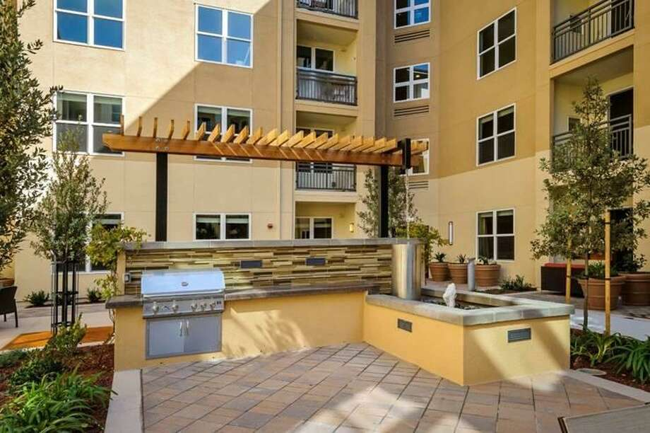 In the Zen Courtyard an outdoor kitchen allows for summer night barbecues.